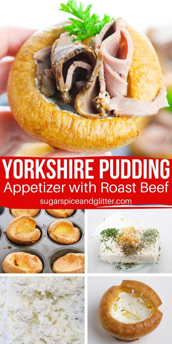 A fun and easy Christmas appetizer, these Yorkshire Pudding cups are stuffed with homemade herb and garlic cream cheese and roast beef for a Mini Roast Beef Supper in a cup!