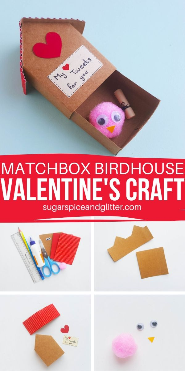 "Let your ""tweet-heart"" know how you feel with this simple lovebird craft, complete with a matchbox-style paper birdhouse box"