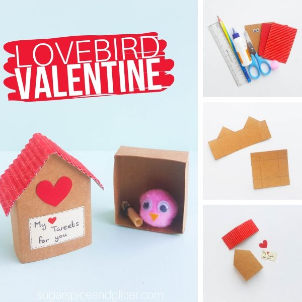 How to make a paper birdhouse and lovebird for a sweet Valentine's Day craft
