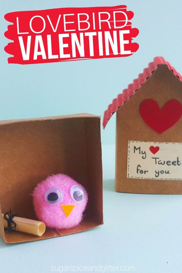 "Make your own lovebird and cardboard birdhouse for a ""tweet"" gift, or put a special present in this homemade house-shaped box"