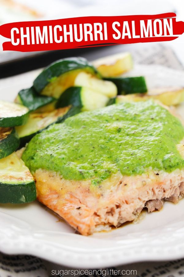A delicious way to incorporate more heart-healthy salmon into your week, this Chimichurri Salmon recipe uses a simple homemade chimichurri sauce to elevate a simple baked salmon to a at-home gourmet experience