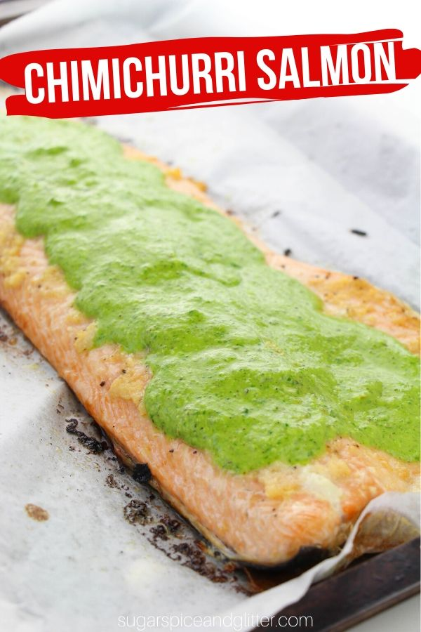 A simple baked salmon recipe with homemade chimichurri sauce - a heart-healthy meal your whole family will love
