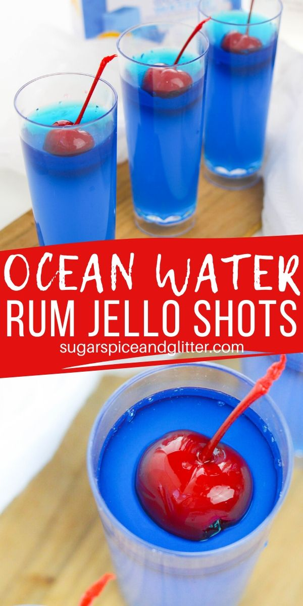 These OCEAN WATER JELL-O SHOTS are the perfect summer party shot! This tropical cocktail is made with coconut rum and tastes just like a Blue Hawaiian or Ocean Water