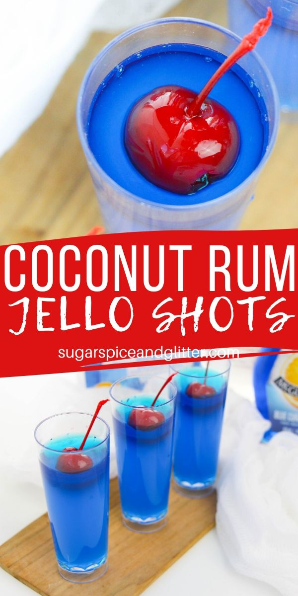 How to make the BEST coconut rum JELL-O shots - these rum cocktails taste just like Sonic Ocean Water (or a Blue Hawaiian cocktail)