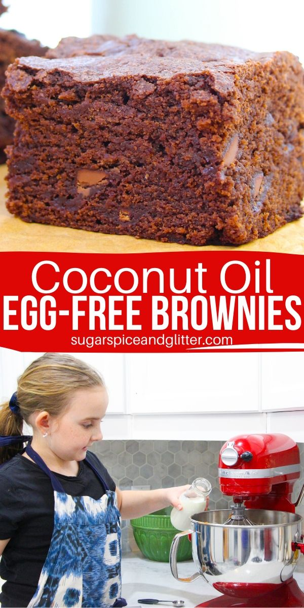 Egg-free brownies - because life is too short not to let the kids lick batter off of the beaters! Chewy brownies made with coconut oil