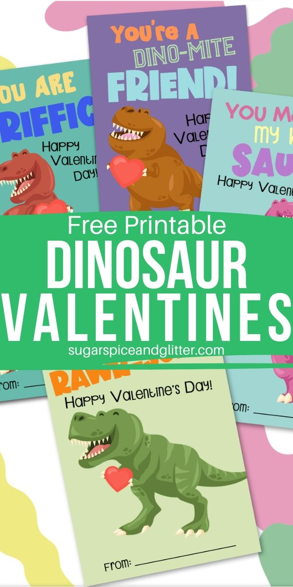 Free Printable Dinosaur Valentine's Day Cards for kids - simply download, print and address to your child's friends