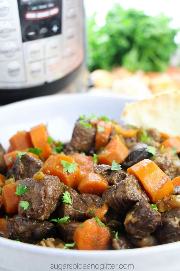 How to make the best beef bourguignon - in your Instant Pot! Rich beef stew with succulent steak, rich gravy and plenty of veg in under an hour