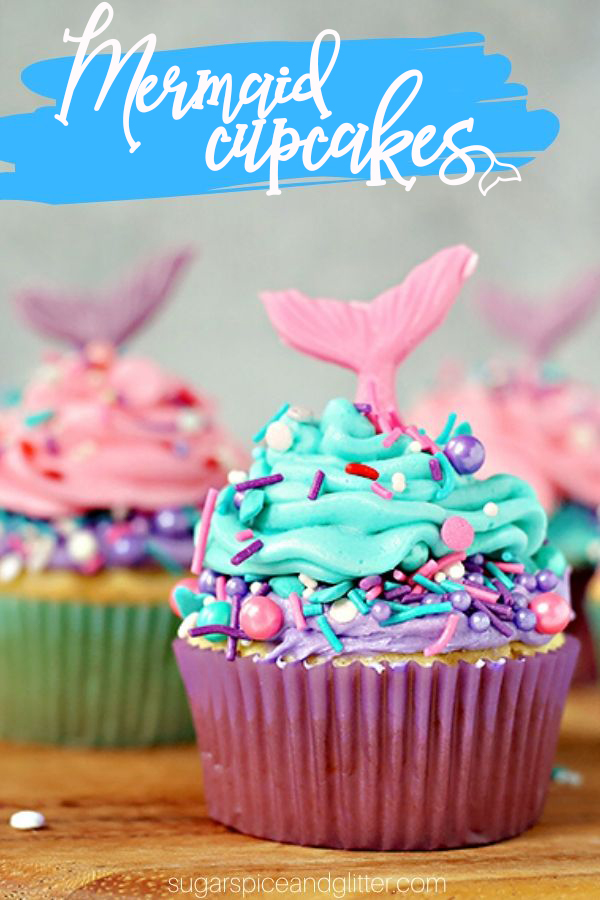 Quick and easy Mermaid cupcakes perfect for a Mermaid Birthday party. The best homemade buttercream frosting, pretty mermaid sprinkles and a homemade candy tail