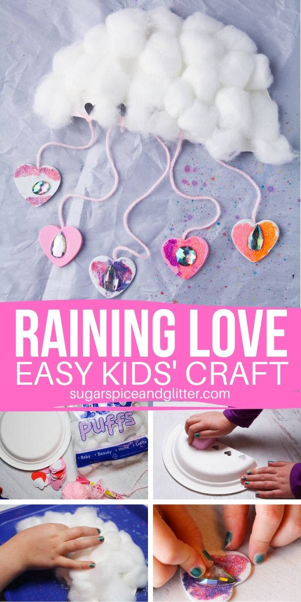 Not only is this Raining Love Cloud Craft for Kids super cute, it builds hand strength, allows children to practice math skills, knotting skills, and using descriptive language and metaphor. So much more than a simple craft!