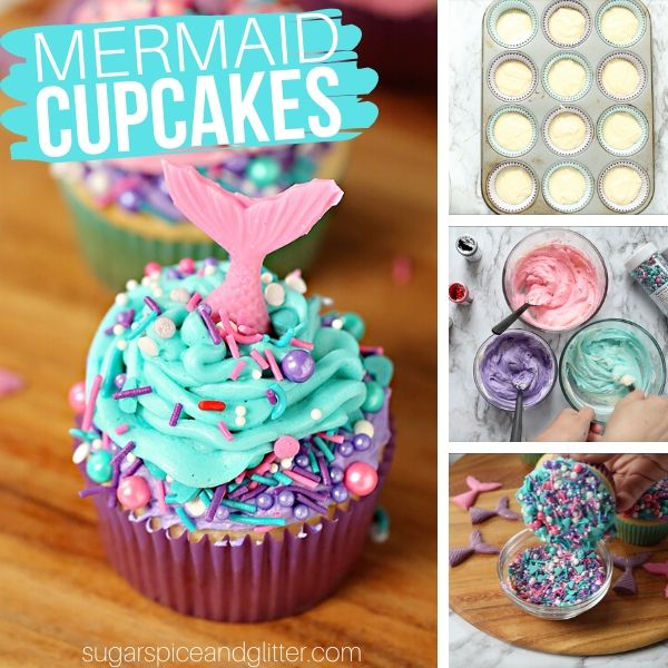 How to make mermaid cupcakes - two-tone frosting, magical mermaid sprinkles, and a candy mermaid tail combine to make a gorgeous birthday party cupcake
