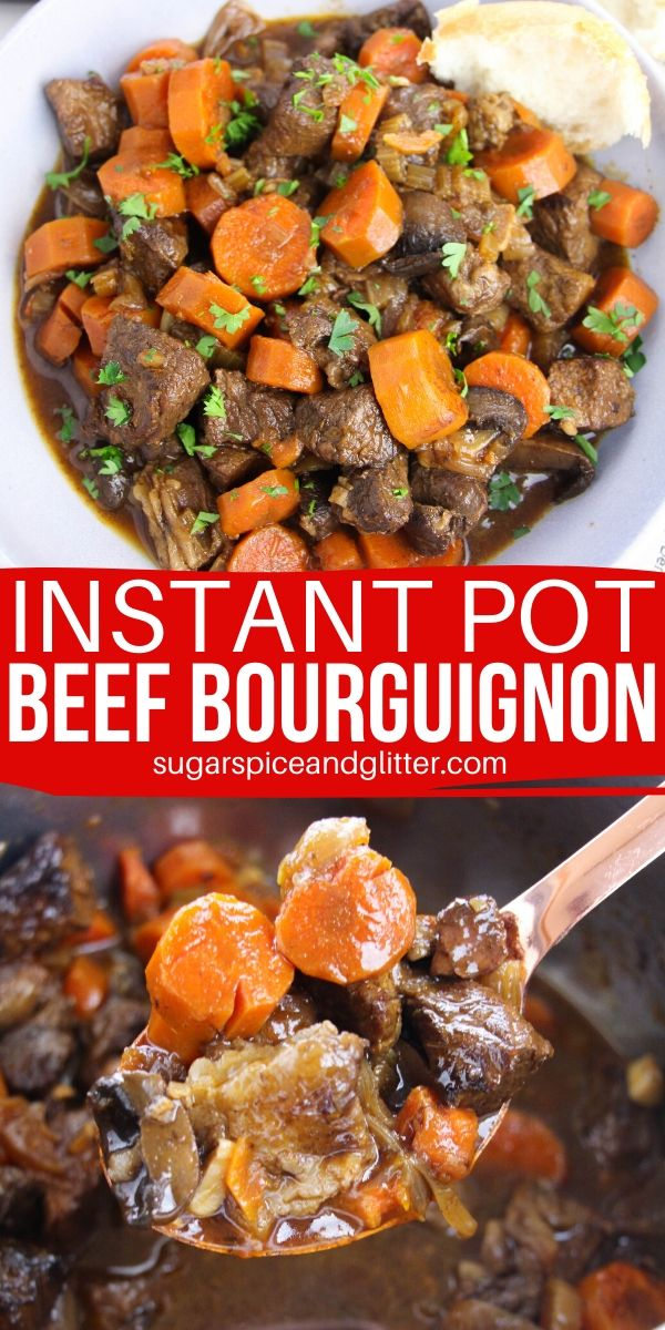 The only Instant Pot Beef Stew recipe you will ever need - this Instant Pot Beef Bourguignon can be made family-friendly, or prepared the traditional French way - both in less than an hour