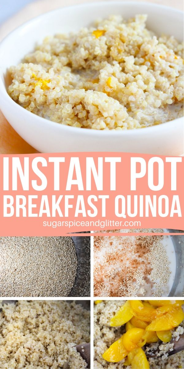 Skip the packets of sugary oatmeal and whip up this Instant Pot Peaches and Cream Quinoa instead! An easy and comforting Instant Pot Breakfast recipe