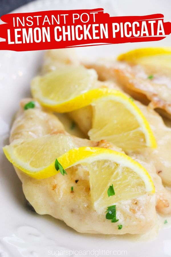 A Instant Pot chicken recipe with a perfect balance of bright lemon, salty capers, and tender chicken smothered in a creamy sauce