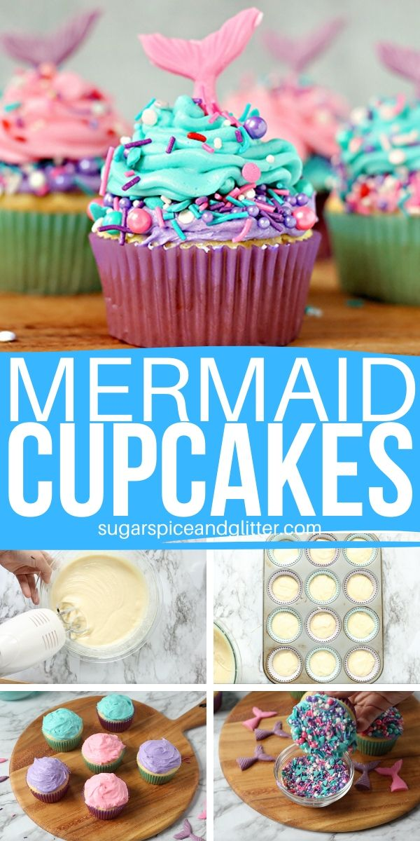 A step-by-step tutorial for how to make these Magical Mermaid Cupcakes - two-tone buttercream frosting, pretty sprinkles, and easy homemade candy tails - perfect for a mermaid party