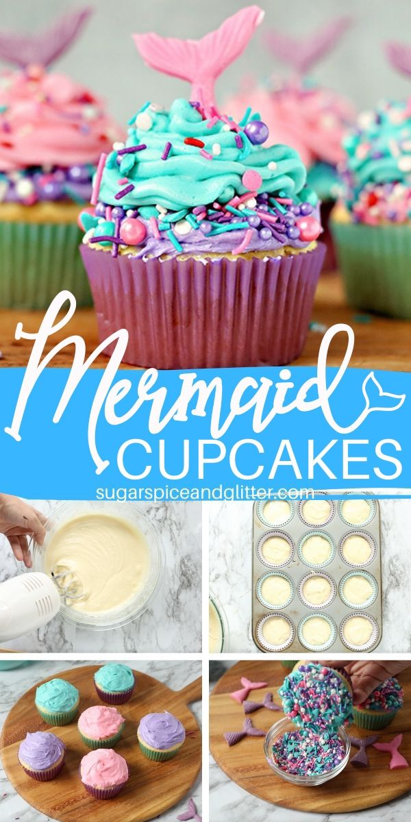 A step-by-step tutorial for how to make these Magical Mermaid Cupcakes - two-tone buttercream frosting, pretty sprinkles, and easy homemade candy tails