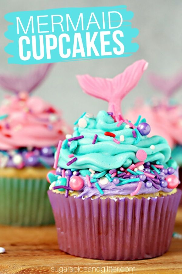 These Mermaid Cupcakes are perfect for a Mermaid Birthday Party or Mermaid Movie Night