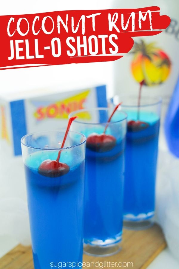 If you love Sonic's Ocean Water, you are going to love these Ocean Water Rum Jello Shots, made with coconut rum, blue curacao and pineapple juice