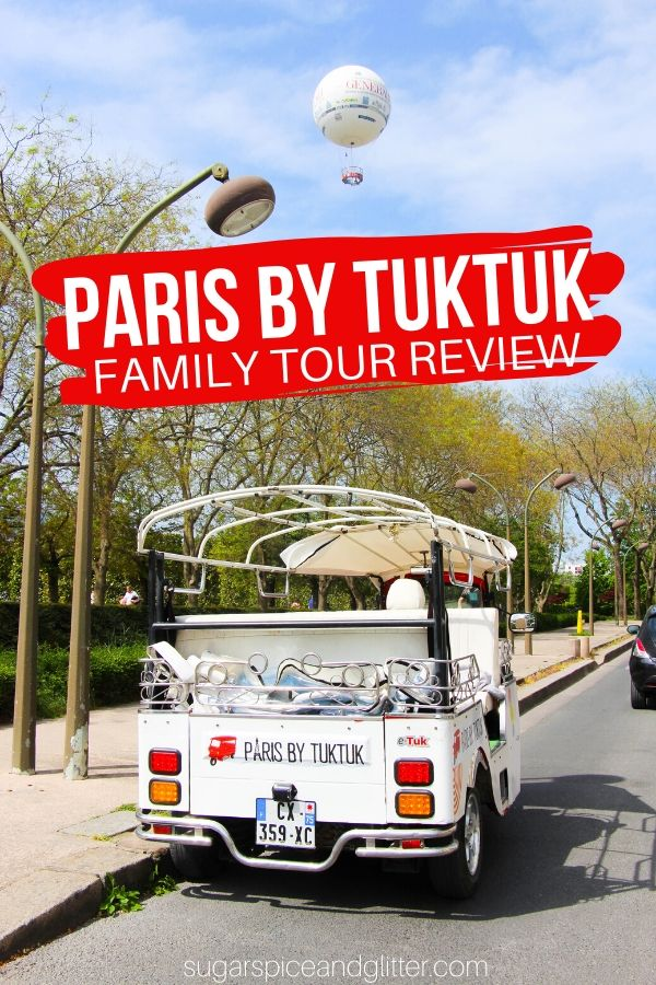 A unique Paris experience for the whole family: exploring Paris by Tuktuk! See all the sights without exhausting yourself or having to worry about getting lost as you are driven throughout the city listening to classic Paris music and enjoying flaky croissants