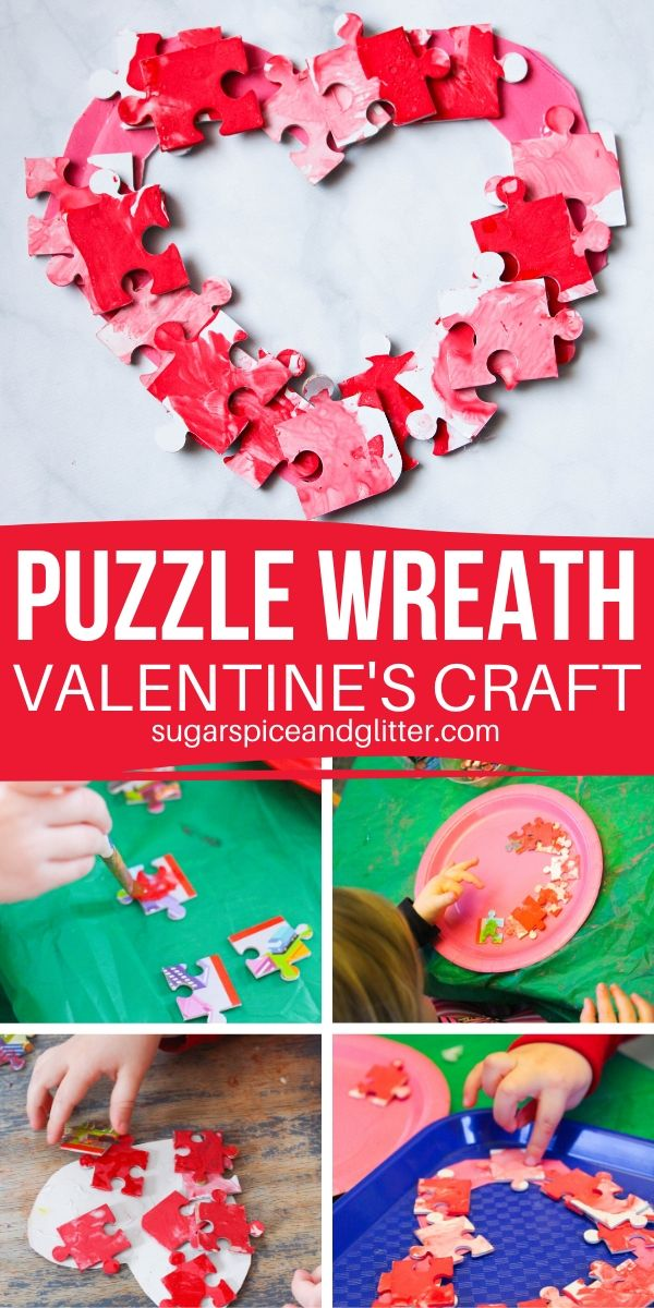 Show them that they have a little piece of your heart with this simple Valentine's Day wreath made of leftover puzzle pieces