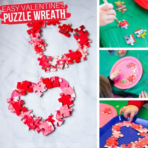 How to make a wreath out of puzzle pieces