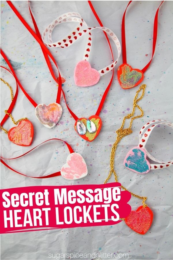 A super simple homemade locket that kids can make and then hide secret messages in. A fun craft for Valentine's Day or Mother's Day, or a special best friend craft.