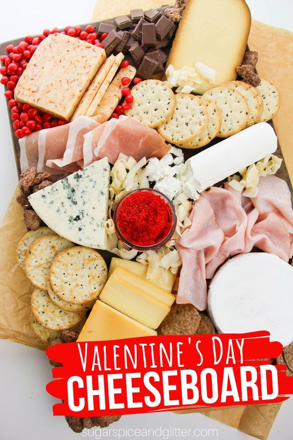 A fun Valentine's Day themed Cheeseboard is the perfect addition to your Valentine's Day party - or Galentine's celebrations