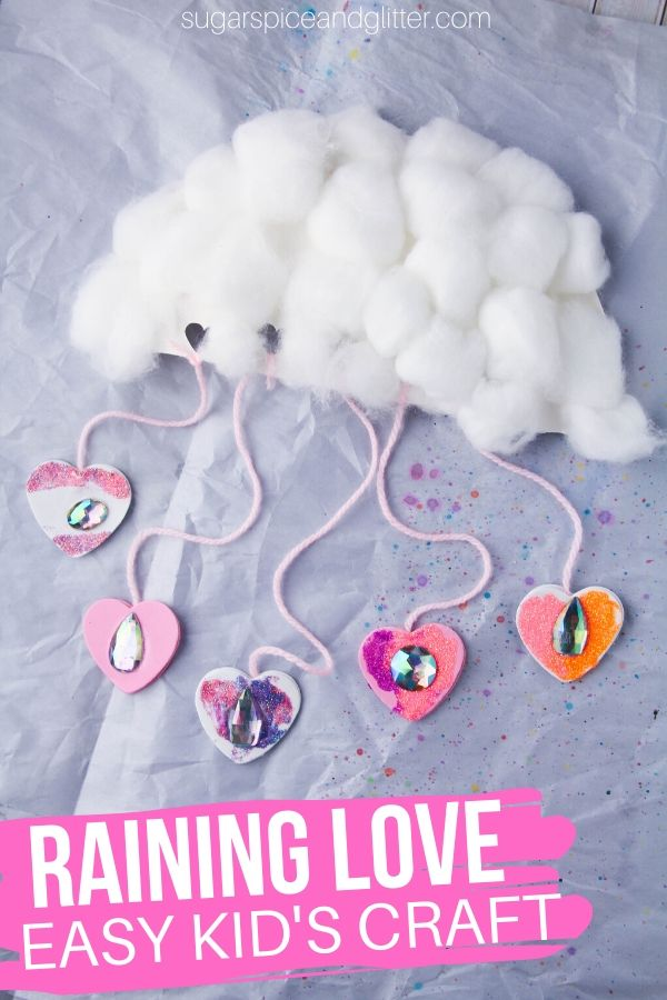 Kids build hand strength, math skills, and language skills while making this super cute Raining Love Cloud Craft to shower their loved ones with affection