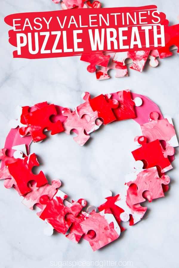 A super simple Valentine's Day wreath kids can make with leftover puzzle pieces. Go on - take another little piece of my heart!