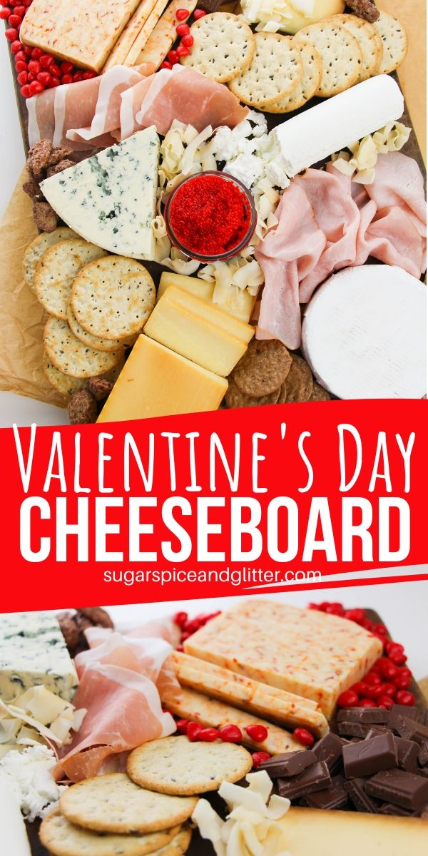 A unique appetizer for your Valentine's Day celebrations, this Valentine's Day cheeseboard features a variety of cheeses, crackers and treats to spoil your loved ones this holiday