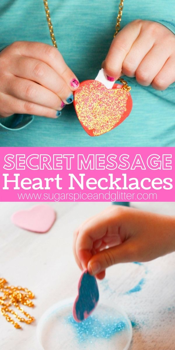 A super simple homemade locket that kids can make and then hide secret messages in