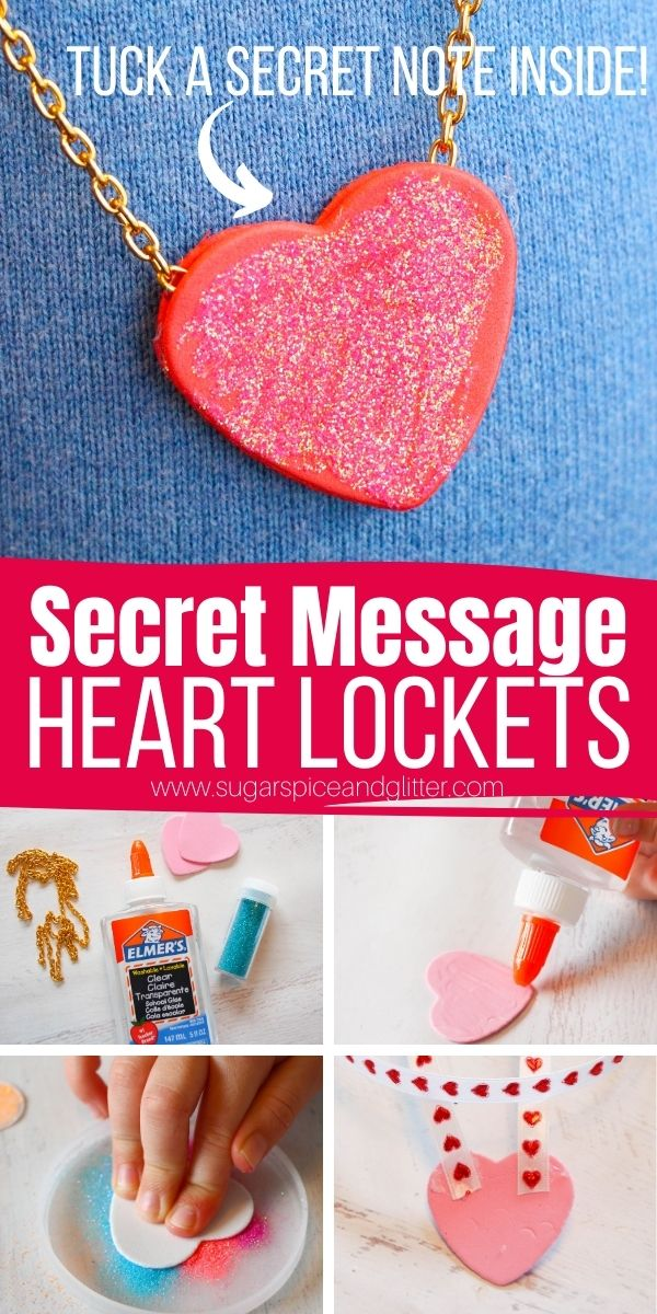How to make a simple heart locket necklace using everyday craft supplies - and as a special bonus, you can tuck secret messages into your lockets! A fun valentine's day craft for kids or homemade mother's day gift