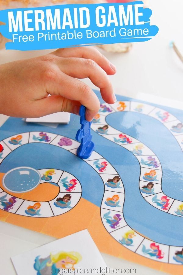 A simple mermaid game for kids, this printable board game is an underwater version of Candy Land perfect for a family game night or a free Mermaid birthday party gift