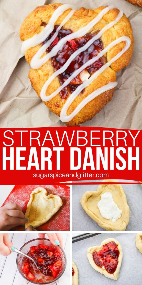 Homemade strawberry danishes, with just 5 ingredients and less than 20 minutes! This strawberry brunch recipe is so easy, the kids can make it!