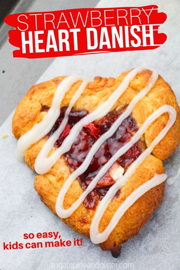 A cute brunch recipe so easy - kids can make it! These Strawberry Heart Danishes are a fun twist on cream cheese danishes using only 5 ingredients