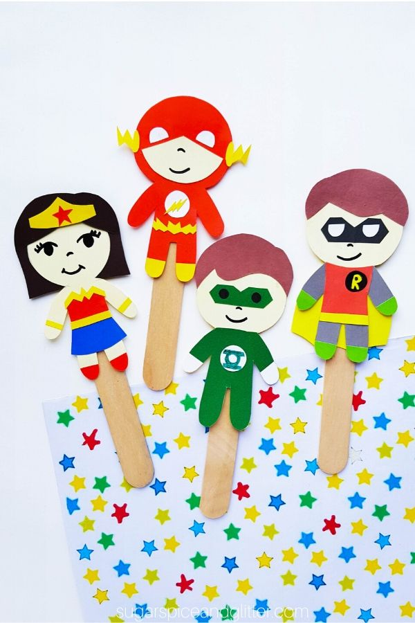 Printable Superhero Puppet Craft