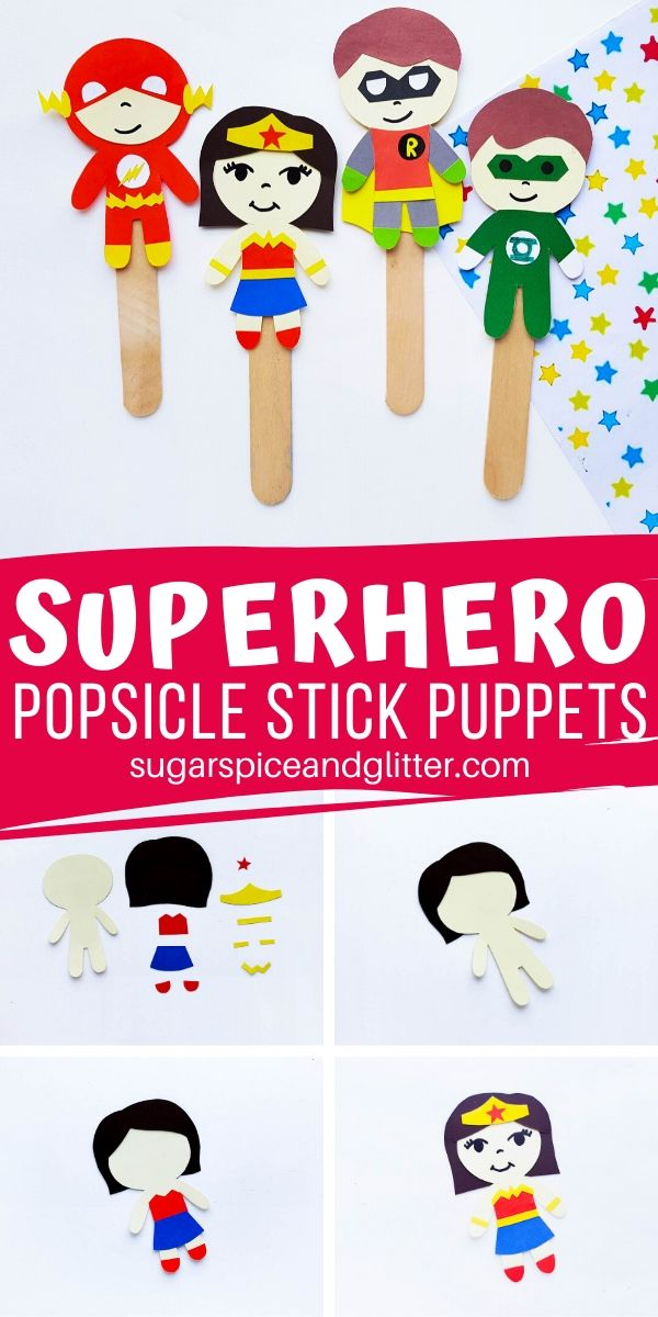 The perfect Superhero craft for kids - let them make their own popsicle stick puppets and then re-enact their favorite scenes from the movies or comic books