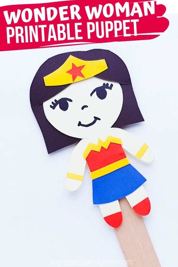 A simple step-by-step tutorial (plus free printable template) to make your own Wonder Woman Popsicle Stick Puppet