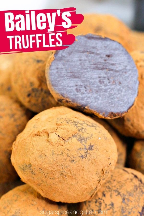 A delicious no-bake Bailey's chocolate truffle recipe with only 5 ingredients. These luscious Bailey's truffles just melt in your mouth and are the perfect indulgent treat to pair with coffee or cocktails.