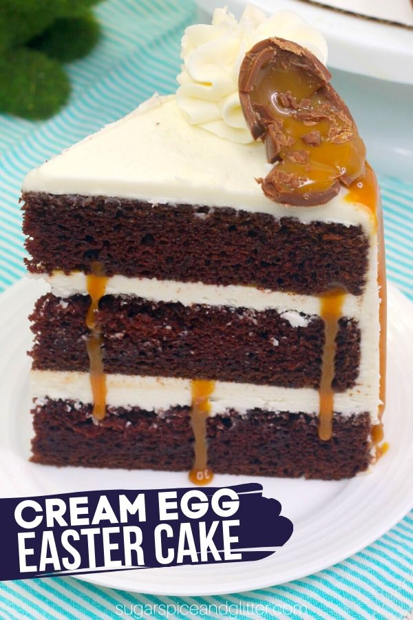 A decadent chocolate caramel cake perfect for Easter, this Cadbury Chocolate Cake features a tender chocolate cake, silky vanilla frosting and generous caramel drizzles - and those classic chocolate caramel eggs! It looks like it came from a bakery but is super simple to make.