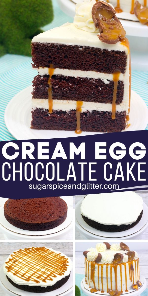 How to make a super decadent Caramel Chocolate Egg Cake - it looks like it came from a bakery but is ready in less than an hour at home! Swap out the caramel eggs and use cream eggs, if desired, for this easy Easter Cake