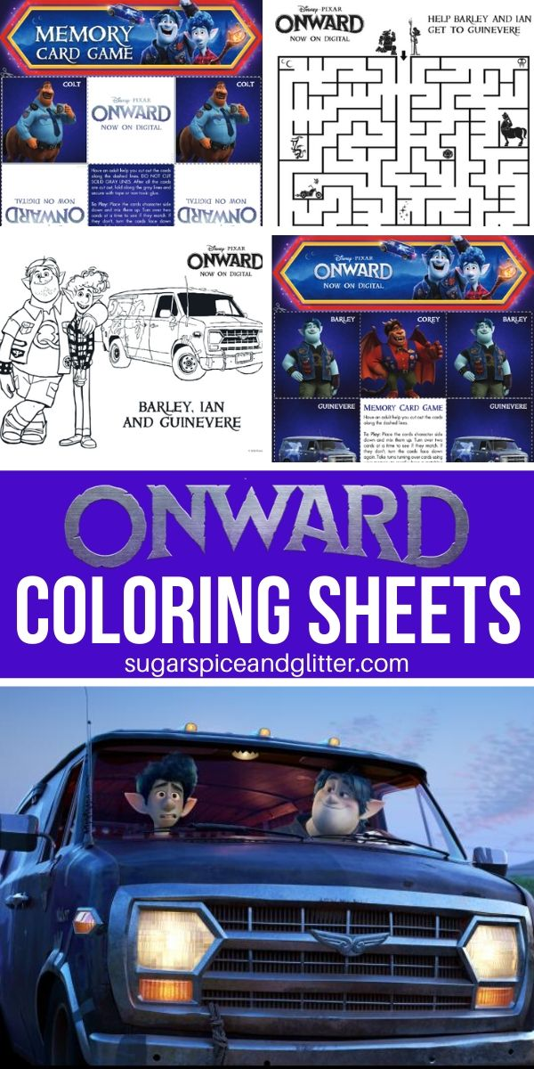 Free printable coloring sheets for Disney and Pixar's ONWARD, plus a free printable memory game. Great for a Disney movie night!