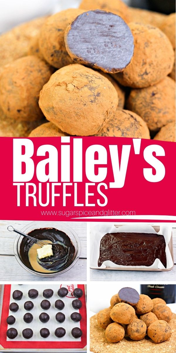 How to make Bailey's truffles with just 5 ingredients. A delicious and indulgent no bake dessert perfect for cocktails or coffee with friends, or giving as a homemade gift. They freeze really well, too, for a plan-ahead treat.