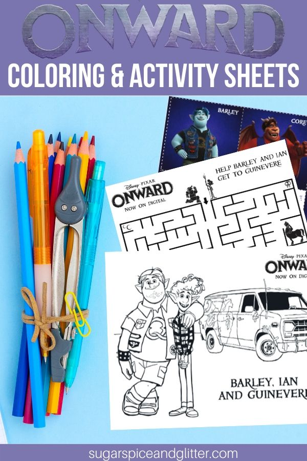 Onward Coloring Pages Activity Sheets Sugar Spice And Glitter