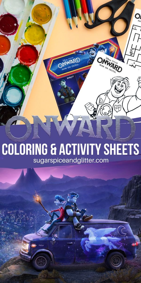 Free Disney coloring sheets for Onward, perfect for getting kids excited for a Disney movie night. An easy Disney Onward craft for kids - plus printable game of memory