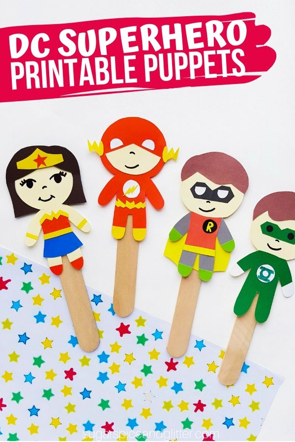 Kids can put on their own Superhero Puppet Shows after making this super simple DC Superhero Craft. Includes a free printable to make these Popsicle Stick Puppets
