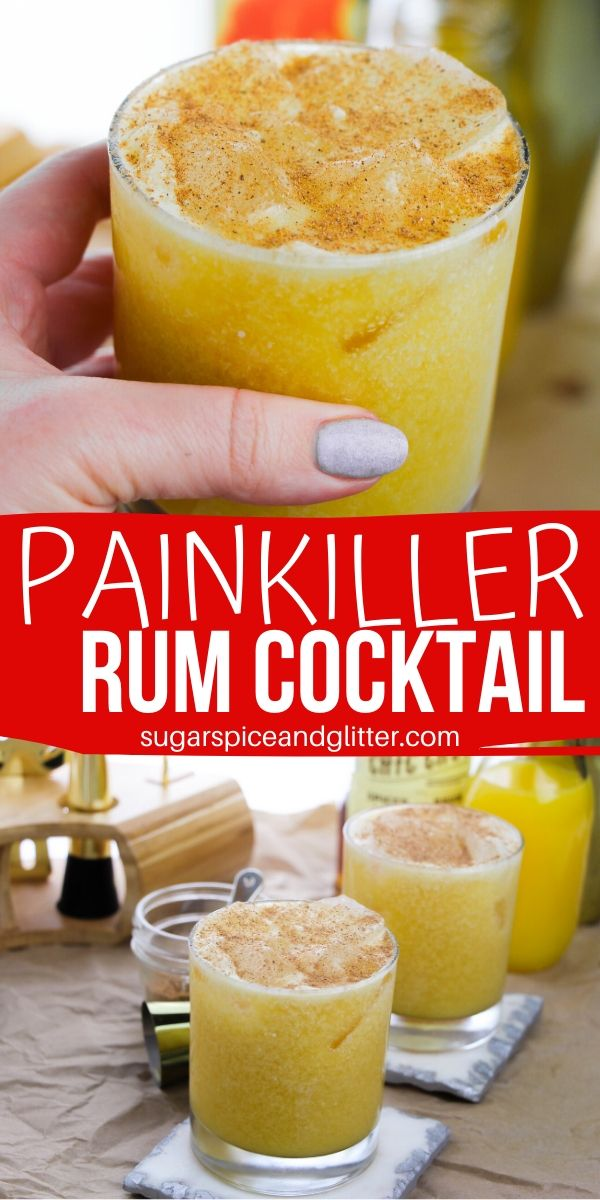 Our Painkiller Cocktail recipe is a well-balanced citrus cocktail with a creamy consistency and a hint of warmth. If you're a fan of pina coladas or coconut rum punch, you're going to love this recipe!