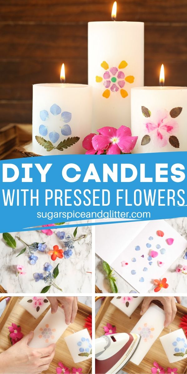 A simple DIY for a gorgeous homemade gift using pressed flowers, this DIY Candle is the perfect Mother's Day gift or special way to display pressed flowers from a vacation.