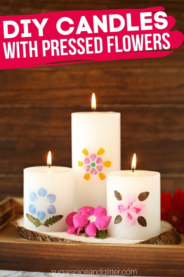 A super simple DIY for the prettiest homemade candles using homemade pressed flowers. This craft takes less than 30 minutes to make and is a beautiful homemade gift