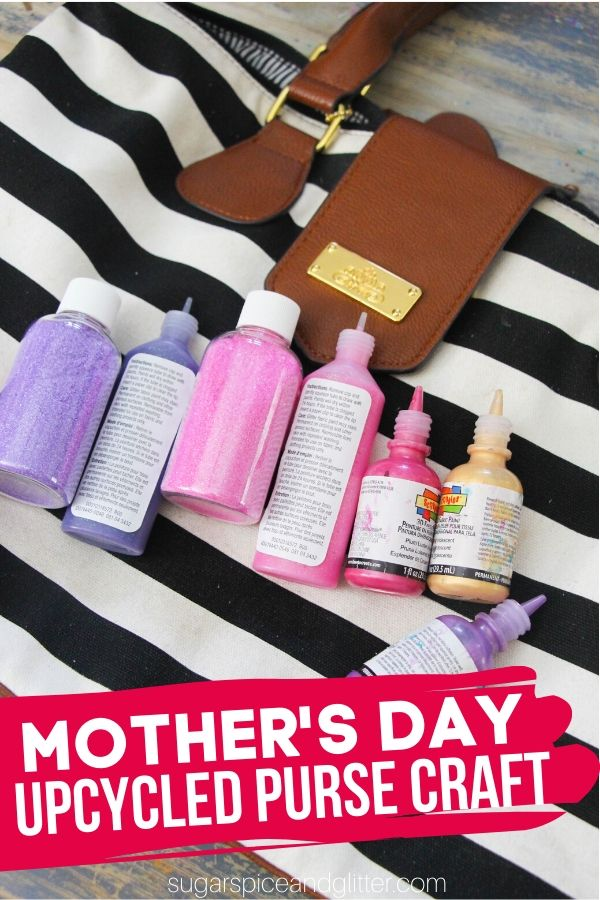 A super cute way to upcycle an old or stained purse: let the kids paint it! Add handprints, or just let them go wild! A thoughtful and fun Mother's Day gift kids can make