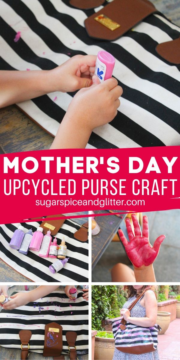A cute parting gift before Mom's first vacation without the kids, or just a thoughtful handmade Mother's Day gift kids can make. This upcycled purse craft is a great way to give new life to a stained purse